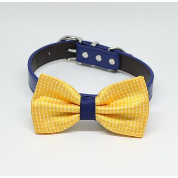 Yellow Navy Dog Bow tie dog collar, Pets Wedding Accessory