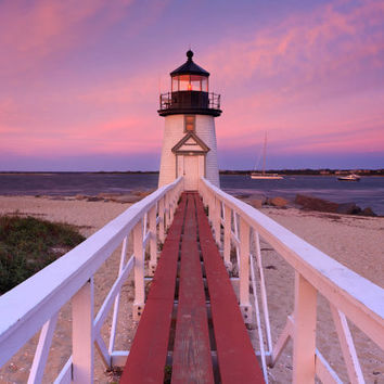 Metal Photo Print, Lighthouse Photo, Nantucket Photography, Large Metal Wall Art, Brant Point Light, Beach Sunset Picture, Pink Purple White