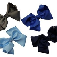 Girls Set of 4 Assorted Extra Large Size GrosGrain Hair Bows on Alligator Clips