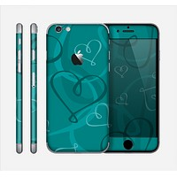 The Teal Swirly Vector Love Hearts Skin for the Apple iPhone 6