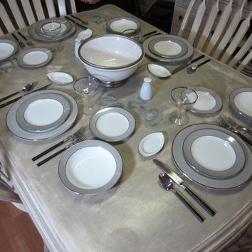 Platina by Sango Service for 4 Dinner Plate Gray Band with Silver Vintage Plates Vintage Dinner Set Bowls Modern Gray Grey Dinner Plates