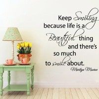 Wall Decals Vinyl Decal Sticker Wording Marilyn Monroe Quote Keep Smiling Because Life Is a Beautiful Thing and There's so Much to Smile About Bedroom Decor Living Room Beauty Salon Home Interior Design Kg860