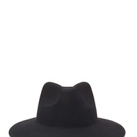 FOREVER 21 Wide-Brim Wool Fedora Black
