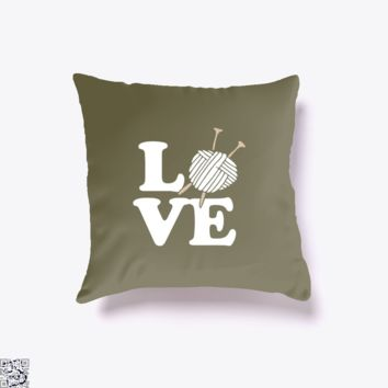 Love Knitting And Crochet, Sewing Throw Pillow Cover