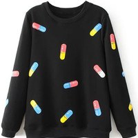 Long Sleeve Capsule Printed Loose Sweatshirt - NOVASHE.com