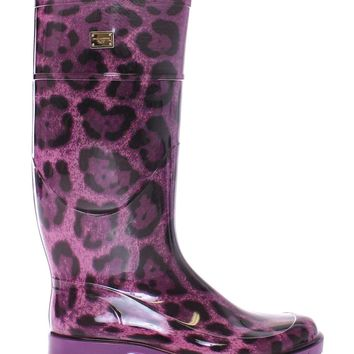 Purple Leopard Rubber Rain Boots Shoes Stivali