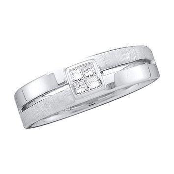 14kt White Gold Mens Princess Diamond 5mm Wedding Anniversary Band Ring 1/6 Cttw - FREE Shipping (US/CAN)