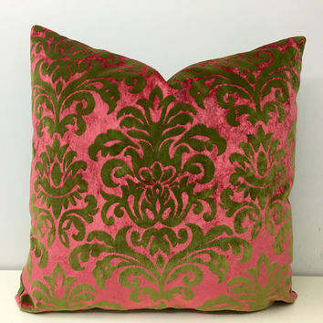 Green Velvet Pillow Covers,Green Pillow,Pink Pillow,Damask Kissen,Decorative Pillow,Green Velvet Cushion Covers,Green Velvet Throw Pillows