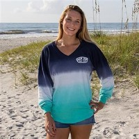 Ron Jon Ladies Blue Ombre Football Jersey - Cocoa Beach