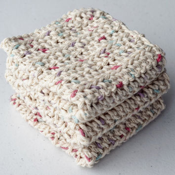 Crochet Dishcloths/ Washcloths - Speckled Cream - 100% Cotton -  Handmade Wash Rags - Set of 3 Kitchen Dishcloths - Facial Wash Cloths