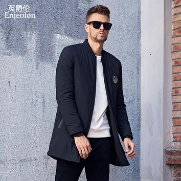 Cotton Padded Jacket long coat Men Parka black printing Thick Quilted fashion Coat Men