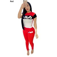 FILA 2019 new female color matching letter printing sports suit two-piece Red