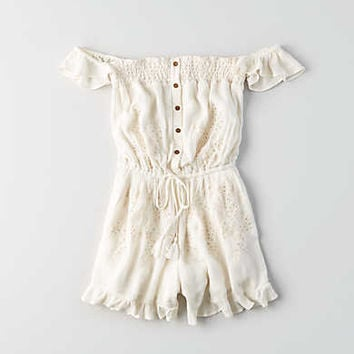AEO Off-The-Shoulder Eyelet Romper, Toasted Coconut