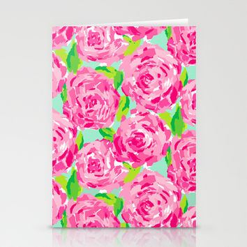 Roses (Lilly Pulitzer style) Stationery Cards by uramarinka | Society6