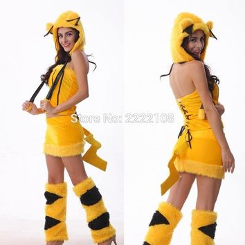 Mascot Costume Pikachu Anime Cute For Girl Sexy Cosplay Cartoon Costume Adult Jumpsuit Christmas halloween costume WomenKawaii Pokemon go  AT_89_9