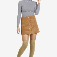 Hannah Button Front Corduroy Skirt - Tan