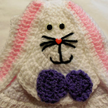 Hanging Towel - Easter - Bunny Topper - Crochet