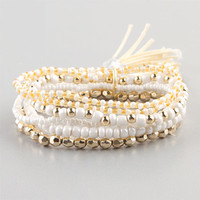 Full Tilt 6 Row Bead And Tassel Bracelet Ivory One Size For Women 23415016001