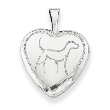 Sterling Silver Rhodium-plated 16mm Dog Heart Locket QLS258