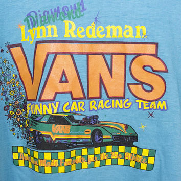 80s VANS t shirt - vintage 1980s - crop top - shoes - lynn redeman funny car racing