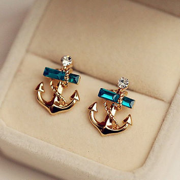 Green Rhinestone Anchor Earrings