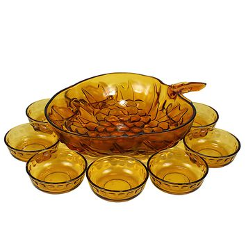 Amber Glass 9-pc Fruit Bowl Set, Indiana Glass Grape Pattern, Pasabahce Dessert Dishes