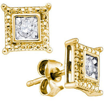 Diamond Fashion Earrings in Gold-plated silver 0.05 ctw