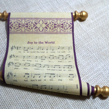 Christmas music scroll on fabric, Joy to the World music and lyrics with damask