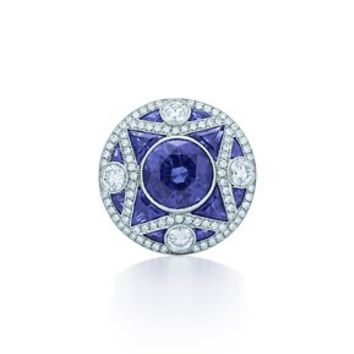 Tiffany & Co. -  The Great Gatsby Collection ring in platinum with diamonds and sapphires.