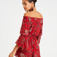 AE OFF-THE-SHOULDER RUFFLE SLEEVE ROMPER, Rust