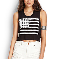 FOREVER 21 American Flag Crop Top Black/White Large