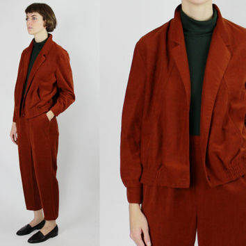 vtg suede like pant suit set beatnik outfit matching two piece burnt orange jacket and pants LARGE L minimalist outfit