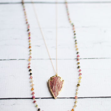 Long Layered Tourmaline and Jasper Arrowhead Necklace