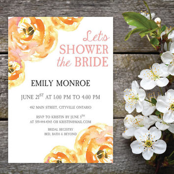 Orange, Yellow & Rose Floral Bridal Shower Invitation and Name Tags | DIY Instant Download | MS Word Document | Download, Print and Trim!