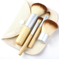 4PCS Natural Bamboo Handle Makeup Brushes Set