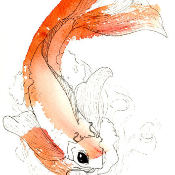 Pen and Watercolor Koi Fish Painting Artists Print, Art Print of Beautiful Watercolor Wash Fish, Tranquil Pen and Ink Koi Fish Painting