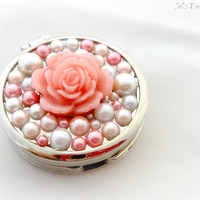 Pink pearl princess compact mirror purse hook, rose decoden, gift for her