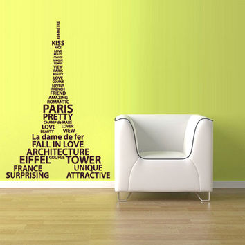 rvz1077 Wall Vinyl Sticker Decal Eiffel Tower Decal Paris France Words Quote Sign Z1077