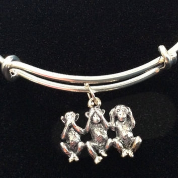 Hear no Evil, See no Evil, Speak no Evil Monkey's Charm on a Silver Expandable Adjustable Wire Bangle Bracelet Fun Trendy Gift