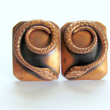 Copper Snake Earrings Whiting and Davis Collectible Clip On