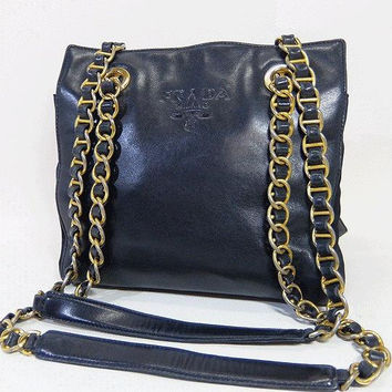 Vintage Prada genuine navy nappa leather chain shoulder tote bag. Classic purse back in the era.