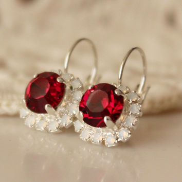 Ruby Earrings White Opal... Swarovski Crystal... Cushion Cut Diamond... Halo Rhinestone Leverback Earrings... Red Earrings