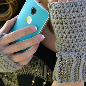 Crochet clay button arm warmers, wrist warmers, fingerless gloves, mittens, texting gloves