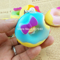 New Cute Chocolate One-Bite Bow Squishy  Donuts Phone Straps Soft Bread Key Chains Charms 1PCS