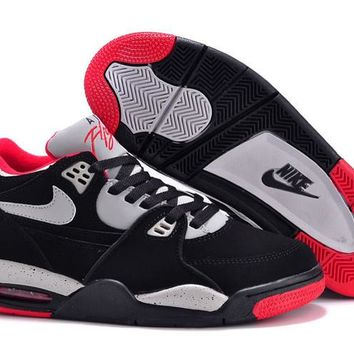 hcxx Nike Air Flight 89 Suede Fashion Causal Skate Shoes Black Red