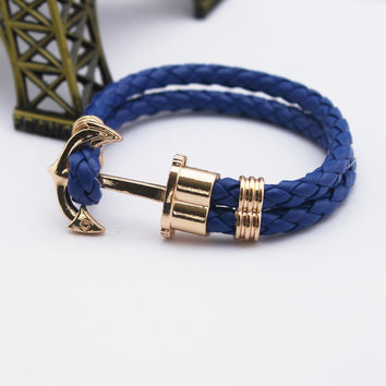 Fashion Jewelry PU Leather Bracelet Men Anchor Woven Bracelets&Bangles Multilayer Charming Rope Pulseiras Femininas Hand Chain
