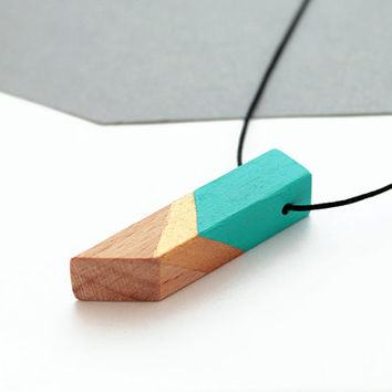 Geometric wooden necklace - mint, gold, natural wood - minimalist, modern jewelry - color blocking