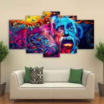 Abstract Albert Einstein Print Psychedelic Colorful Wall Picture