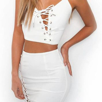 Don't Kill My Vibe Spaghetti Strap Sleeveless Lace Up Crop tank Top Asymmetric Two Piece Bodycon Mini Dress - 3 Colors Available