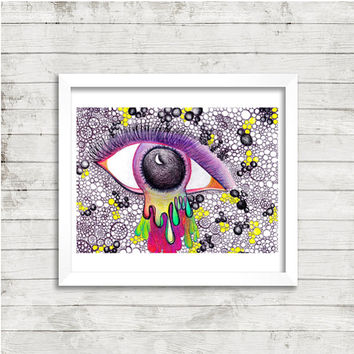 Eye Drawing, Trippy Eye Art, Psychedelic Eye Art, Mixed Media, Print